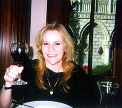 Jule dining in Italy